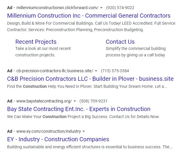 construction companies paid ads