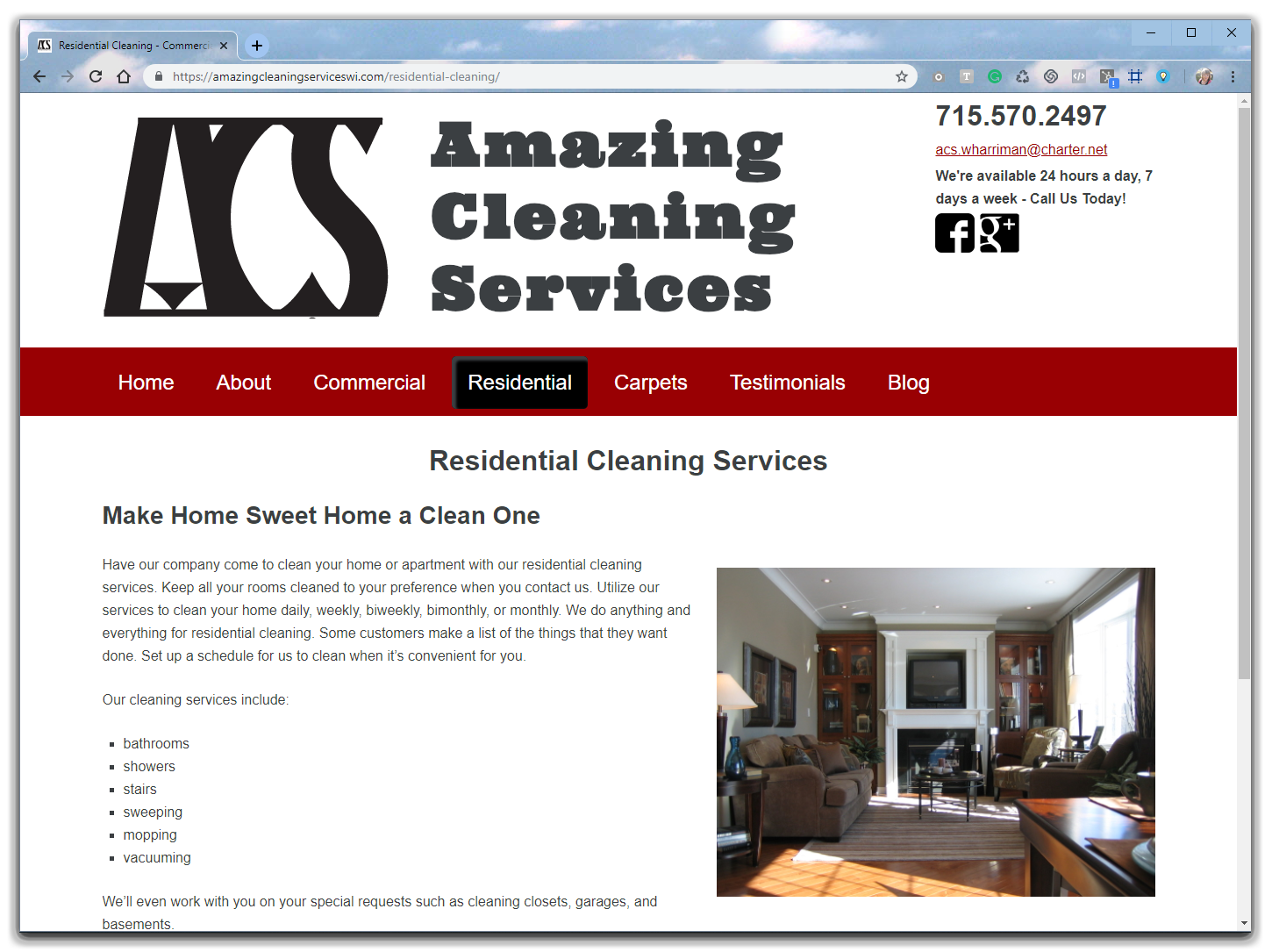 cleaning business website