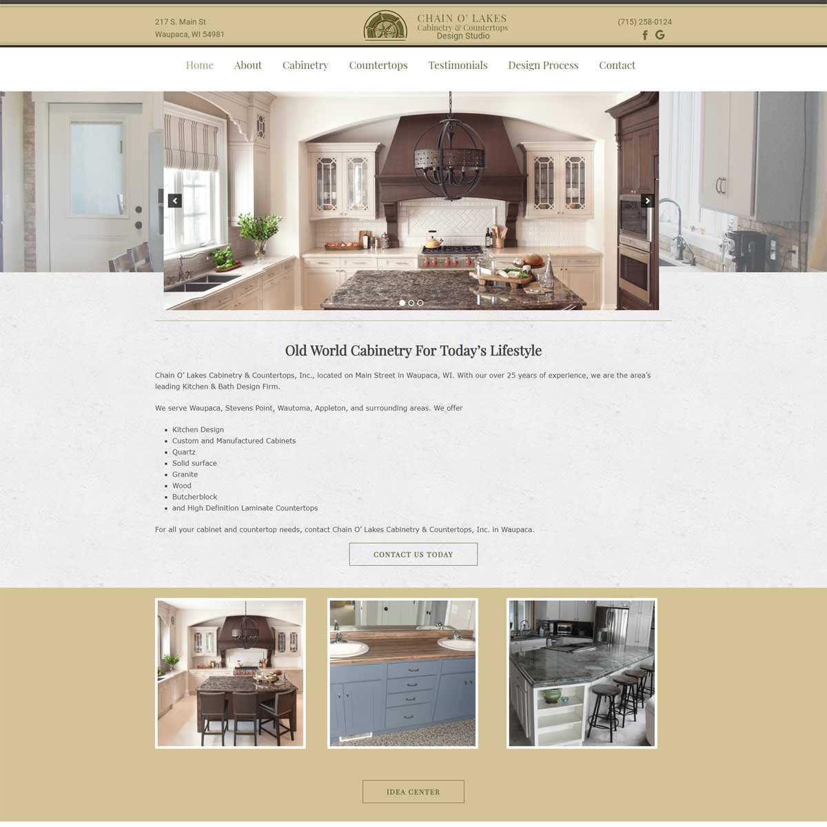 chain o lakes cabinetry website portfolio