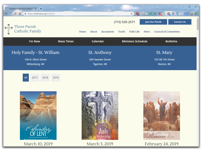 three parish catholic family bulletins