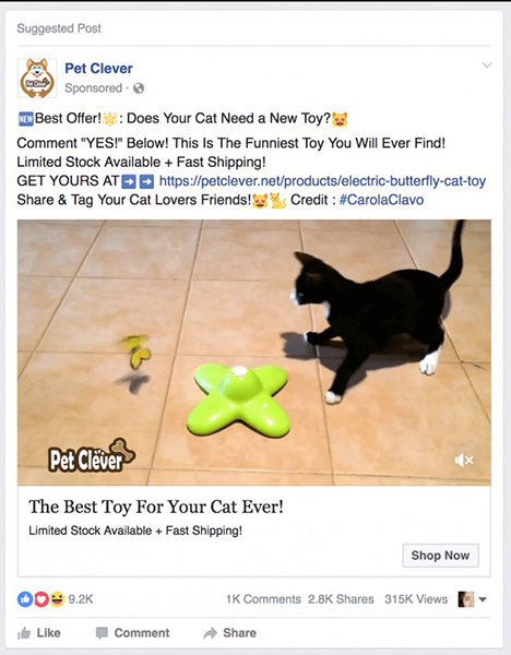 facebook ads cat toys