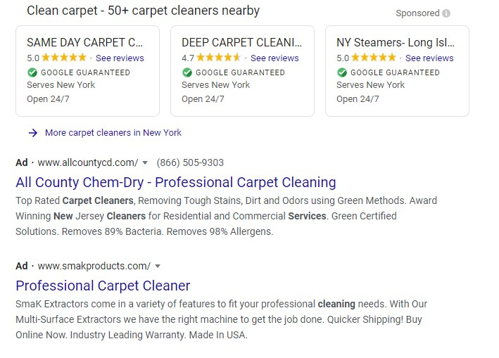 google ads carpet cleaning